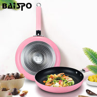 Baispo 24/26/28/30cm Non-Stick Frying Pan No Oil Smoke Pot Universal Induction Cooker Gas Stove Frying Pan Kitchen Pot