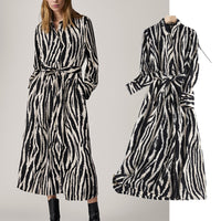Withered 2020 Vestidos De Fiesta De Noche England Style Fashion Vintage Simple Zebra pattern Party Midi Dress Women Vestidos
