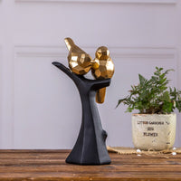 Nordic Golden Geometric Bird Standing On A Black Branch Statue Home Crafts Room Decor