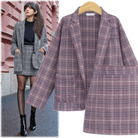 CINESSD 2 Pieces Sets Office Skirt Suits Women Autumn Single Button Notched Plaid Blazer Jackets Slim Mini Skirts Plus Size 4XL