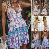 Women Wrap Summer and Loose Boho Floral Paisley Sleeveless Ultrathin and Breathable Tank Mini Print Dresses Ladies