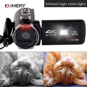 KOMERY 4K Video Camera Support WIFI And NightShot  Function Camera Time-lapse Video 3.0 Inch HD Touch Screen Camera