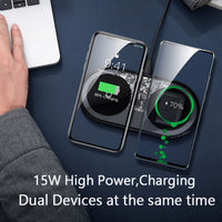 Baseus 15W Dual Wireless Charger for iPhone 11 Pro Max X XS Max XR Visible Wireless Charging Pad for Samsung Galaxy S20 Note 10