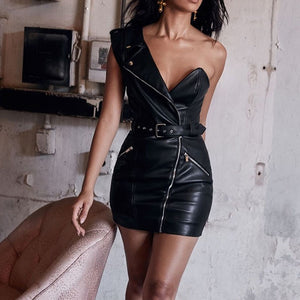 Black Faux PU Leather High Waisted Women's Dress Belt One Shoulder Mini Tube Dresses Ladies 2020 Sexy Bodycon Female Vestidos