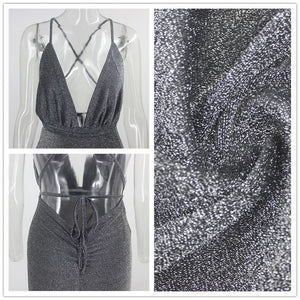 Fuedage Autumn Sequin Black Bandage Dress Women Glitter Club Bodycon Party Dresses Sparkle V Neck Backless Sexy Dress Vestidos