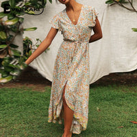 Everkaki Floral Print Long Dress Boho Summer Vestidos Buttons Sashes Ladies Gypsy Maxi Dresses