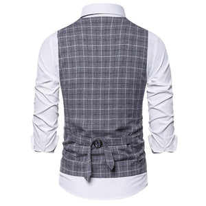 New Mens Vest Casual Business Men Suit Vests Male Lattice Waistcoat Fashion Mens Sleeveless Suit Vest Smart Casual Top Grey Blue