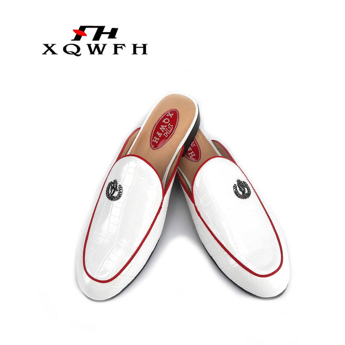 Men summer sandals casual flats banquet handmade men's slippers men dress shoes male smoking slippers plus size