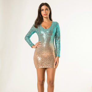 Sexy Short Cocktail Dresses Sequined V-Neck Full Sleeve Sparkle Formal Party Gowns Ladies Little Mermaid Dresses Robe Cocktail