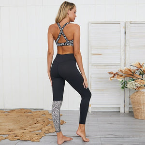 Women Ensemble Leopard Yoga Sets Gym Wear Running Clothing Tracksuit Sexy Sportswear Jumpsuits Fitness Set Sport Suit