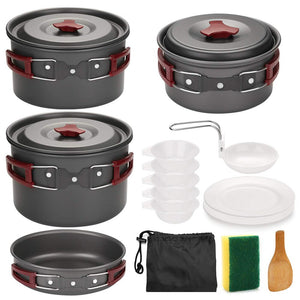 Outdoor Camping Cookware Kit Non Stick Camping Pans Lightweight Cooking Set Pans and Pots for Trekking Hiking Picnic