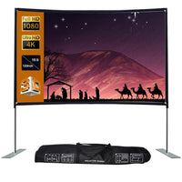 16:9 Projector Screen Stable Base Pipe Connection Home Theater Portable Outdoor Movie (100inch)