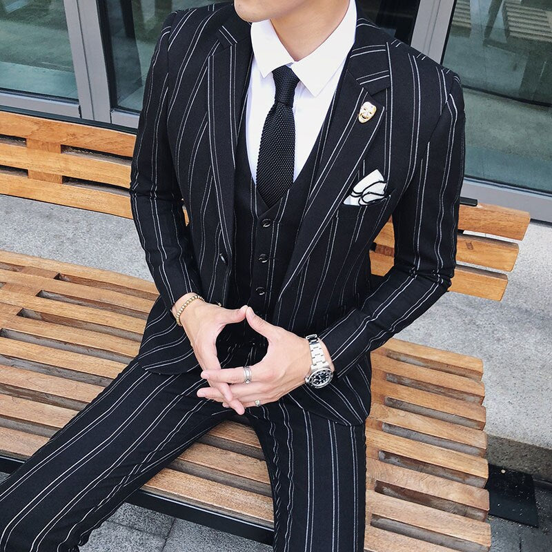Asian Size Latest Striped Men Suit Coat Pant 2020 Classic Fashion Desi Jyards