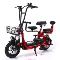 With Baby Seat Mini Foldable Electric Bicycle Two/Three Seat Electric Bike Instead of Wolking City Ebike 48V 12Ah/15Ah/18Ah/20Ah