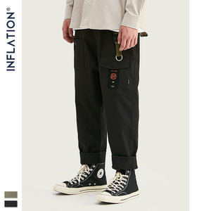 INFLATION Loose Straight Men Cargo Pants 2019 Autumn Streetwear Functional Pocket Men Pants Hip Hop Solid Men Casual Pant 93341W
