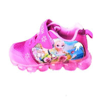 girls frozen elsa Anna blue princess soft Breathable Sneaker with led light Spring Autumn student