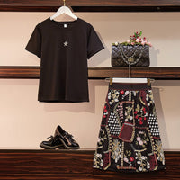 Summer Plus Size Two-Pieces Set Women Diamonds Five-pointed Star Black Cotton T-Shirts + Flower Embroidery Knee Length Skirt Set