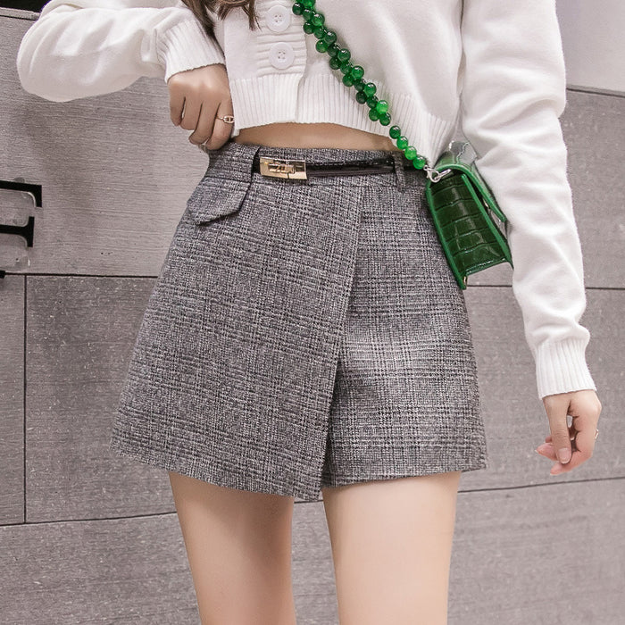 Irregular Woolen Plaid Shorts Skirts For Women 2019 Atumn Winter Office Short Women
