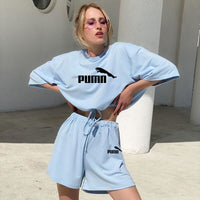 Autumn summer female sweatsuits sets 2020 new hot female two-piece suit solid color home loose fashion casual shorts set
