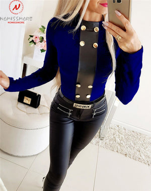 Elegant Women T-Shirts for Streetwear Patchwork Design Button Decor O-Neck Long Sleeve Solid Autumn Winter Slim Pullovers Top