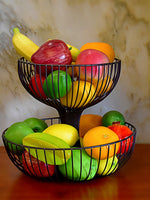 Wrought Iron Double Layer Fruit Basket Metal Fruit Basket Iron Storage Basket Tray for Snack Fruit
