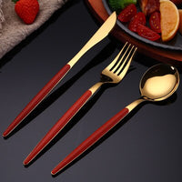 KitchenAce Stainless Steel Dinnerware Cutlery Set Kitchen Tableware Gadgets Golden & Silvery