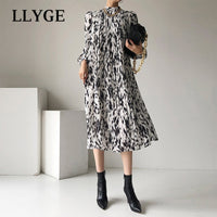 Spring Elegant Zebra Pattern Dress Women O-Neck Long Lantern Sleeve Mid-length Dress Female 2021 Fashion Office Lady Midi Dress