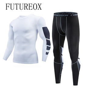 Winter New Men's Compression Men's T-Shirt + Leggings Leather Jacket Set Long Sleeve Bodybuilding Body Shaping Open Long Johns