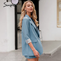 Simplee Elegant two-piece women blazer suit Button pockets polka dot female blazer shorts set Spring summer office ladies suits
