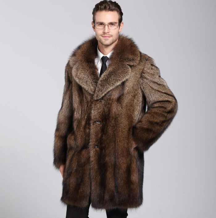 Brown faux mink leather jacket mens winter thicken warm fur leather coat men loose jackets