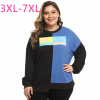 New 2021 spring autumn plus size tops for women large long sleeve loose casual blue black pullover sports wear 4XL 5XL 6XL 7XL