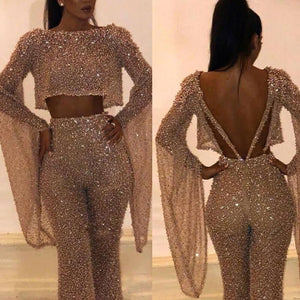Women Party Elegant O-Neck Gilding Jumpsuit Long Sleeves Bling Backless Sexy Fake 2 Piece Set Rompers Modern Ladies Streetwear