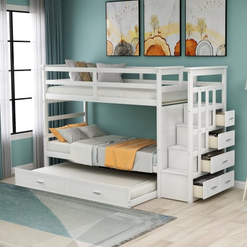 Solid Wood Bunk Bed for Kids, Hardwood Twin Over Twin Bunk Bed with Trundle and Staircase,