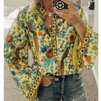 2020 Boho Blouse Peacock Floral Print Long Sleeve Shirt Casual V-neck Women Tops Summer Autumn Chic Blouses Female Plus Size 5XL