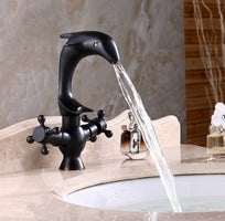 Black Oil Rubbed Bronze Antique Brass Animal Dolphin Style Kitchen Wet Bar Bathroom Vessel Sink Faucet Swivel Spout Mixer Tap Single Hole Two Handles mnf314