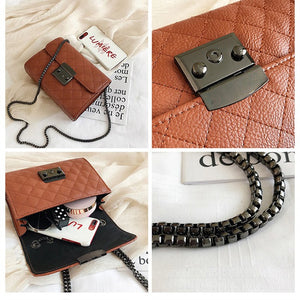 Small Messenger Chain Bag For Women 2019 Pu Leather Ladies Black Crossbody Bags Designer Luxury Woman Summer Shoulder Modis WE12