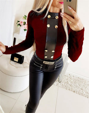 Elegant Women T-Shirts for Streetwear Patchwork Design Button Decor O-Neck Long Sleeve Solid