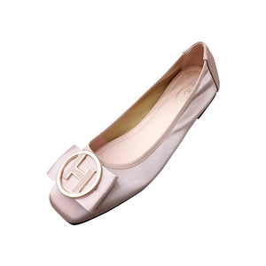 Special Offer PU Women Ballet Flat Shoes with Women'S Slip-On Soft Metal Decoration Boat Shoes