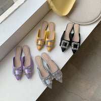 2020 Summer/Autumn Women Slippers Rhinestone Shallow Design Elegant Flats Slip On Shallow Design Mules Shoes Casual Ladies Mules