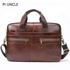 PIUNCLE Brand Genuine Leather Briefcase Men's 14'' Laptop Handbags Business Tote Crossbody Travel Brown Messenger Shoulder Bags