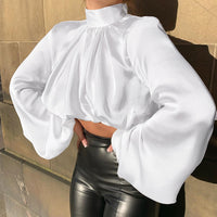 New Fashion White Black Satin Shirts Women Blouses Sexy Loose Short Bottom Shirt Spring Pleated Lantern Sleeve Tops Blusas Mujer