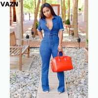 VAZN GSY10806  new design summer dark blue print young women jumpsuit short sleeve short pant jumpsuits sexy club rompers
