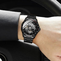 WINNER 2019 Black Stainless Steel Mens Skeleton Watches Top Brand Luxury Transparent Mechanical Male Automatic Wrist Watch