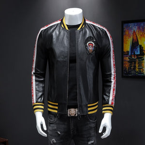 Male leisure fashion personality qiu dong PU leather jacket men suit male article number 19352 P225