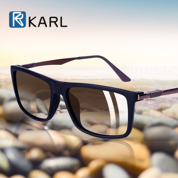 Classic Men Polarized Driving Sunglasses Male Vintage HD Lens Square Aluminum Magnesium