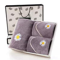Small Daisy Embroidery Microfiber Bath Towel Set Gift Soft Absorbent Bath Towel + Towel Set