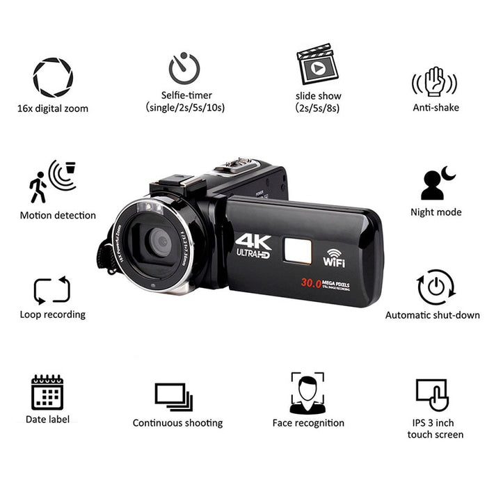 Full HD 4K Video Camera Wifi Handheld DV Professional Night Vision Anti-Shake Digital Photo