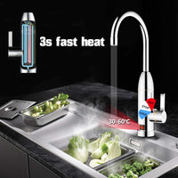 220V 3000W Instant Electric Faucet Tap Hot Water Heater Stainless Steel Under Inflow LED Display Bathroom Kitchen