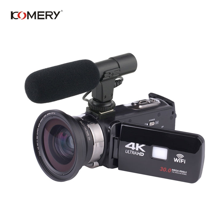 KOMERY 4K FHD 48 Million Pixels 3.0 Inch LCD Touch Screen Video Camera Support