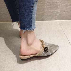 Pointed Toe Half Slippers Female Summer Wear 2020 New Fashion Rhinestone Lazy Flats Sandals Casual Slippers Metal Chain Slides